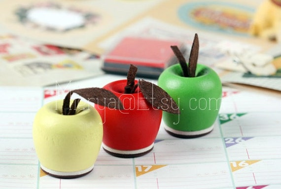 Apple Rubber Stamp Set - Wooden Rubber Stamp Set - Diary Stamps - 3 pcs in