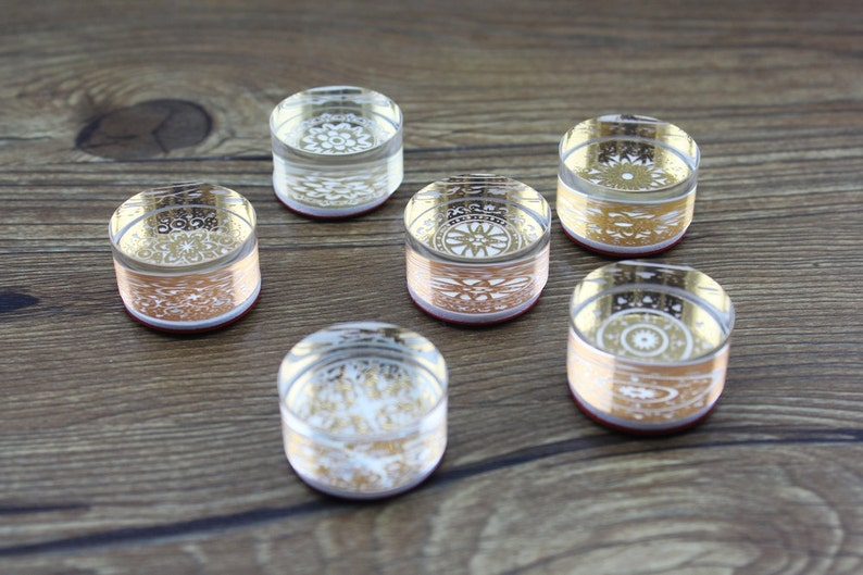 Rubber Stamp 6 Pcs High Quality Crystal Glass Lace Stamps Filofax Deco Stamp
