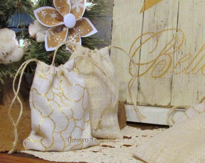 Burlap Gift Bags, Metallic Gold and White Burlap Bags, Rustic Favor Bags, Burlap Christmas Bags, 5 Handmade Rustic Bags, Teacher Gift Bags