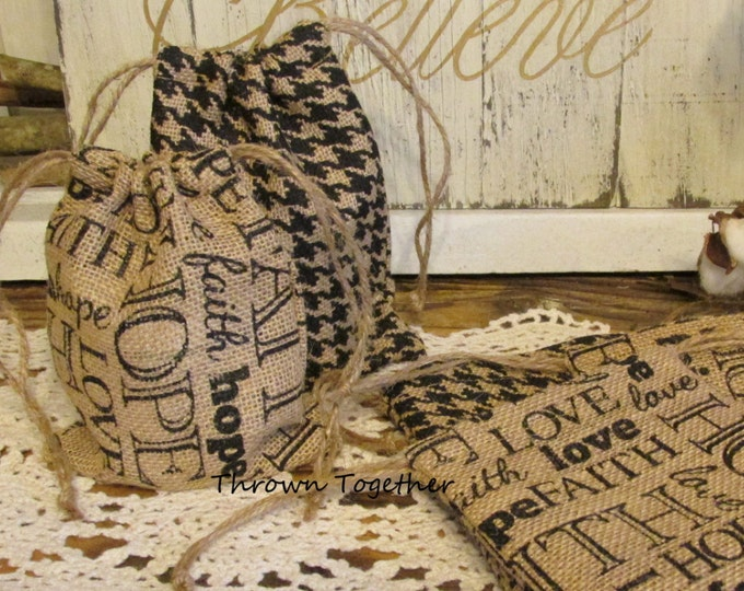 Burlap Favor Bag, Houndstooth & Faith Hope Love Wedding Favors, Rustic Bags, Faith Hope Love Favor Bag, Set of 5 Handmade Rustic Gift Bags