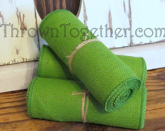 "Bright Spring Green Burlap Ribbon 6"" Wide, 3 yds Green Apple Burlap Ribbon, Burlap Craft Supply, Burlap Decor"