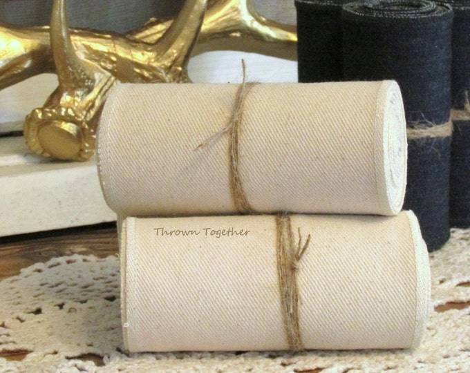 "Natural Ivory Cream Denim Ribbon Garland, 5"" wide Denim Ribbon, Handmade Rustic Ribbon, Ivory Ribbon, Gift Wrapping, Party Decor, 3.5yds"
