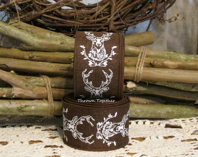 "Brown & White Wired Deer Ribbon, Hunting Ribbon, Primitive Rustic Fall Ribbon, 10YDS Wired Ribbon, 2.5"" wide Craft Ribbon, Brown Ribbon"