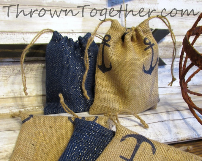 Nautical Favor Bag, Anchor & Navy Sparkle Wedding Favor Bags, Rustic Burlap Bags, Navy Gold Favor Bag, Set of 5 Handmade Rustic Gift Bags