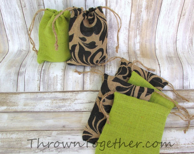 Black Damask & Green Burlap Favor Bags, Halloween Party Favors, Rustic Favor Bags, Party Favor Bags, Set of 6 Handmade Rustic Burlap Bags