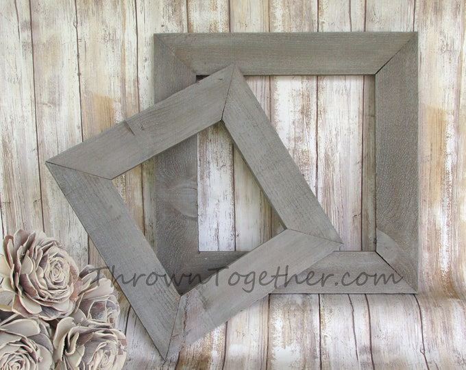 Farmhouse Gray Wood Frames, Gallery Wall Frames, Farmhouse Decor, Wedding Frame, 2 Handmade Wood Frames, Rustic Gray Picture Frames