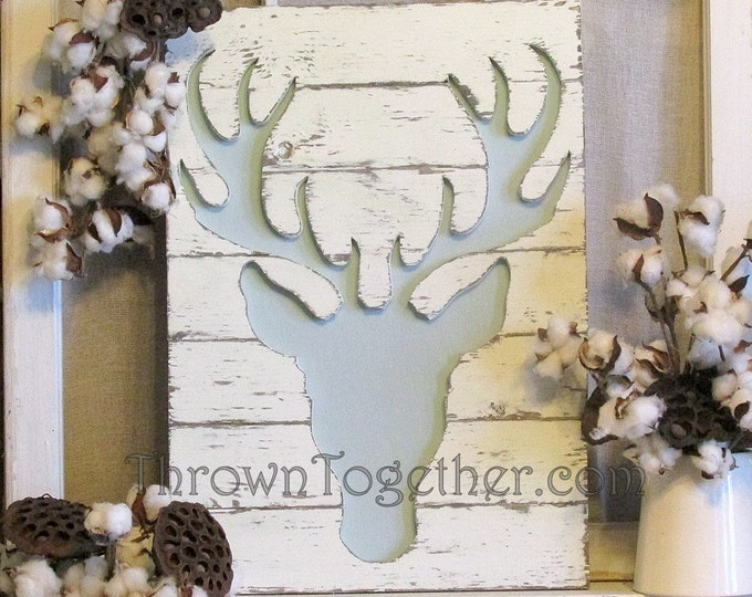 "Woodland Deer Wall Hanging, 15"" x 21"" Wood Deer Sign, Woodland Nursery Wall Decor"