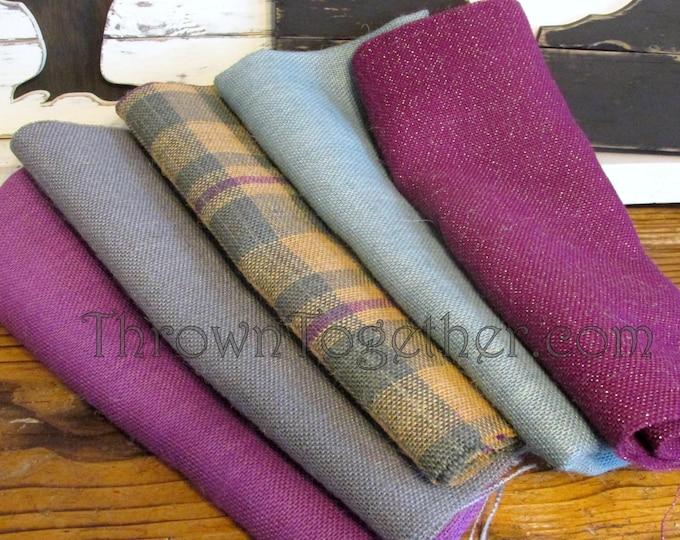 Burlap Fabric Bundle, DIY Burlap Supplies, Plaid Burlap Craft Pack, Purple Gray Burlap Fabric, DIY Craft Supply, 5pc burlap craft supplies
