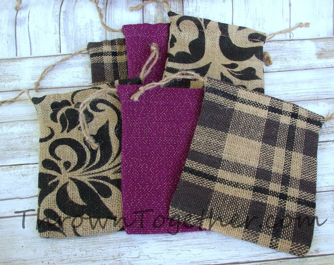 Handmade Burlap Bags, Black & Plum Sparkle Burlap Bags, Wedding Favors, Burlap Christmas Gift Bag, Set of 9 Rustic Gift Bags