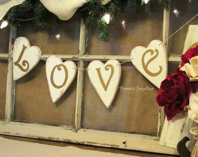 LOVE Banner, Valentine's Day Rustic Wood Hearts, Ivory Metallic Gold Valentine Banner, Valentine Decoration, Primitive Heart Banner
