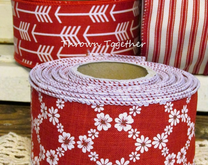 Red & White Flower Print Ribbon, Red White Daisy, Floral Print, Cherry Blossom Print Ribbon, Wired Wreath Ribbon, 2.5inch Craft Ribbon 10yds