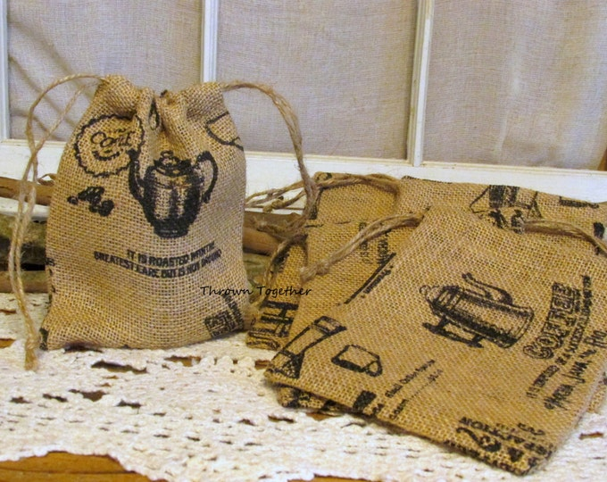 Coffee Print Burlap Bags, Burlap Bag, Coffee Burlap Teacher Gift Bag, Rustic Favor Bag, Coffee Party Favor Bags, Set of 5 Handmade Gift Bags