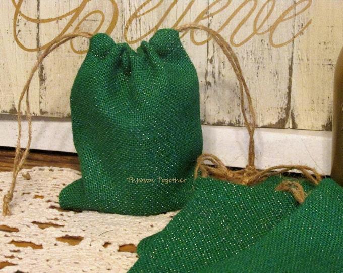 Handmade Burlap Gift Bags, Green Gold Sparkle Burlap Bags, Wedding Favors, Rustic Favor Bags, Burlap Christmas Gift Bags, 5 Rustic Gift Bag