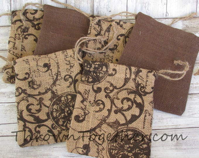 Wedding Favor Bags, Burlap Party Favor Bags, Brown & Scroll Script Burlap Bags, Rustic Favor Bag, Christmas Bag, 8 Handmade Rustic Gift Bags