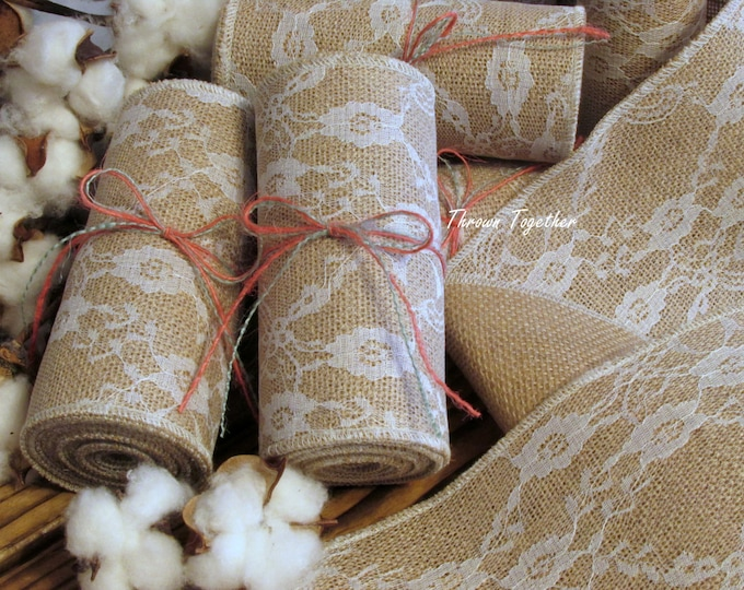 "Lace on Natural Burlap Ribbon, 5"" wide Burlap, Lace & Burlap Ribbon, White Lace Burlap, Burlap Lace Garland, Wedding Decor ChairSash"