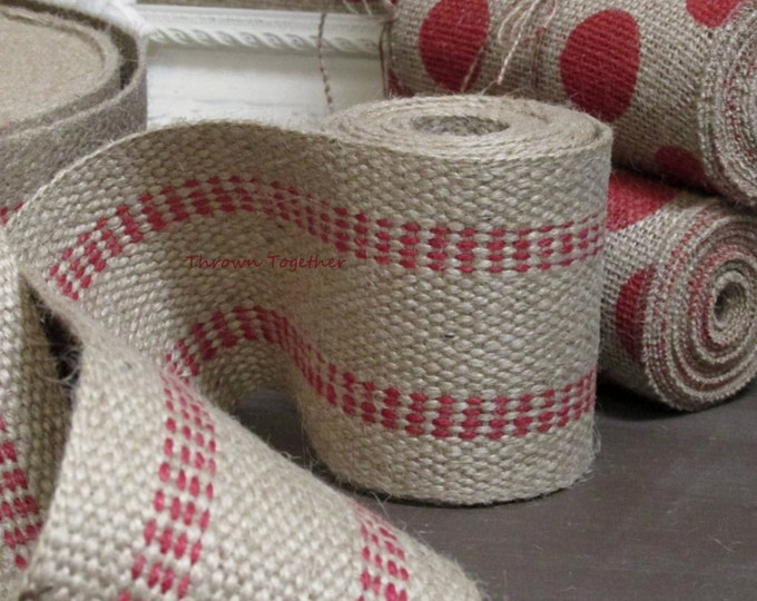"Red Jute Webbing, Red Stitched Ribbon, Jute Ribbon, Jute Webbing, Jute Ribbon Red, 3.5"" Jute Webbing, Webbing by the Yard"