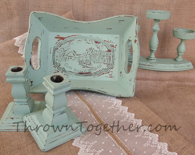 Distressed wood kitchen decor, aqua kitchen decorations, farmhouse kitchen decor, bread basket candleholder set, shabby wood decor