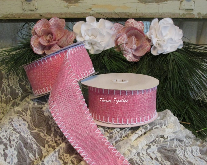 """Pink White Ribbon, 2 1/2"""" wide Ribbon 10 yrds , Pink with White Stitch, Holiday Decor, Baby Shower, Rustic Holiday, Pink Shower Decor"""