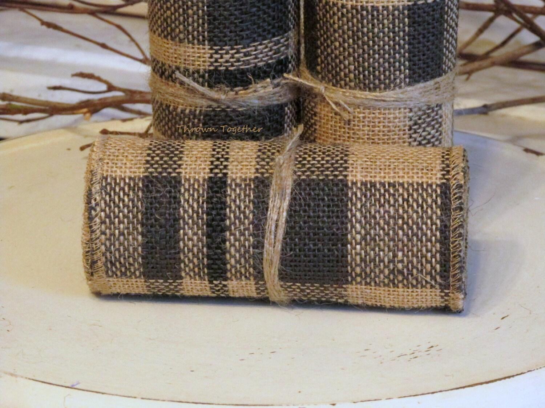Primitive Plaid Burlap Ribbon 5inch Wide 3yds Dark