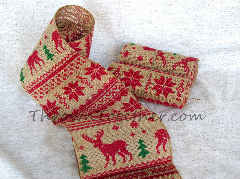 reindeer christmas print burlap ribbon 5in wide christmas garland christmas decor christmas deer burlap limited quantity print varies - Christmas Burlap Ribbon