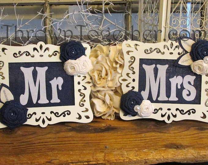 Wedding Chair Signs, Royal Denim Blue & Ivory Wedding Decoration, Bride and Groom Table Signs, Burlap Wedding Signs, Mr Mrs Signs