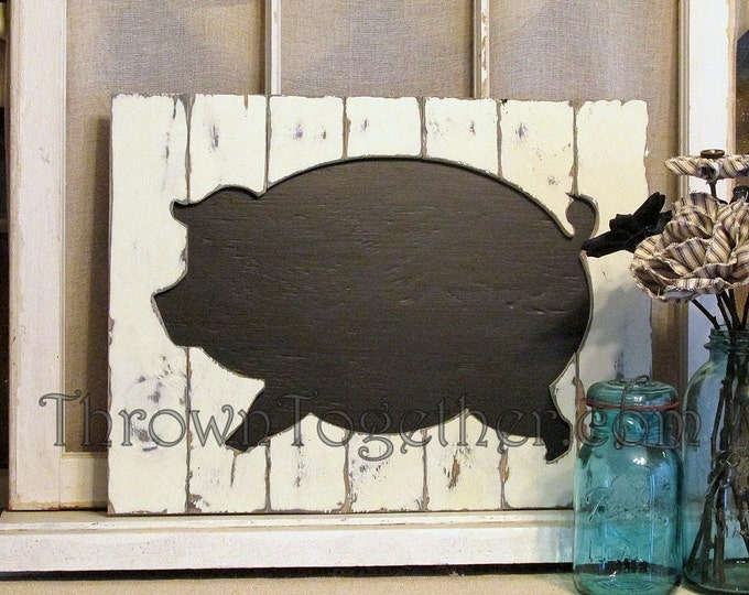 Handcrafted Wood Pig Kitchen Wall Art, Rustic Wood Chalkboard Pig Sign, Rustic Farm Animal Wall Hanging, Gallerywall Decor, Barnyard Decor