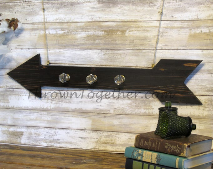 Rustic Farmhouse Arrow with Glass and Gold Hangers, Wood Coat Hanger, Decorative Organization, Wood Arrow Wall Decor, Rustic Jewelry Display