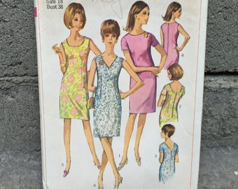 60's Simplicity 6954 Pattern Misses' One-Piece Dress with Three Necklines - Size 18 Bust 38 Factory Folded