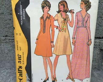 70's McCall's 3417 Pattern Misses' Princess Dress in Two Lengths - Size 12 Bust 34