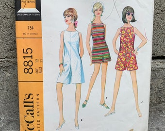 6d6ced579e2df 60's McCall's 8815 Pattern Misses' Culotte Dress in Two Lengths Romper //  Size 12 Bust 32