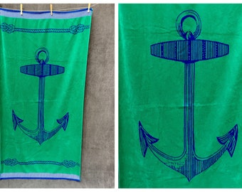 80's Anchor Nautical Beach Towel XL Green with Blue and Rope Knots, back is reverse green on blue