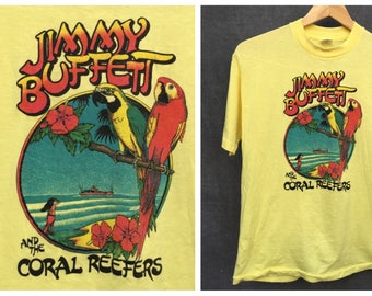 70's Jimmy Buffett and the Coral Reefers T Shirt Margaritaville Tropical Paradise - Size Large