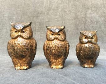 60's Owl Trio Ceramic Figurines RCTC Japan Three Adorable Birds in Ascending Size - Made in Japan