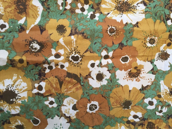 60s Poppy Flowers Floral Fabric Screen Print Original Etsy