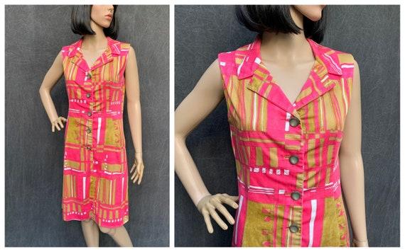 60s Dress Mod Shift Sleeveless Front Button Abstra
