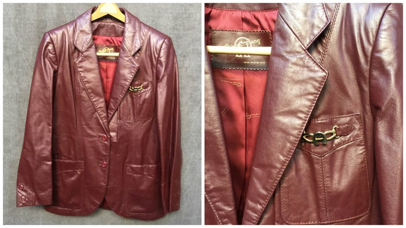 40bff894e 70's Etienne Aigner Oxblood Mod Leather Jacket // Women's Size 10