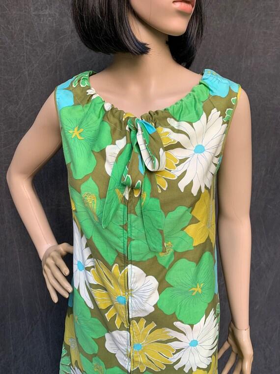 60s Dress Mod Shift Sleeveless Flowers Greens, Tu… - image 3