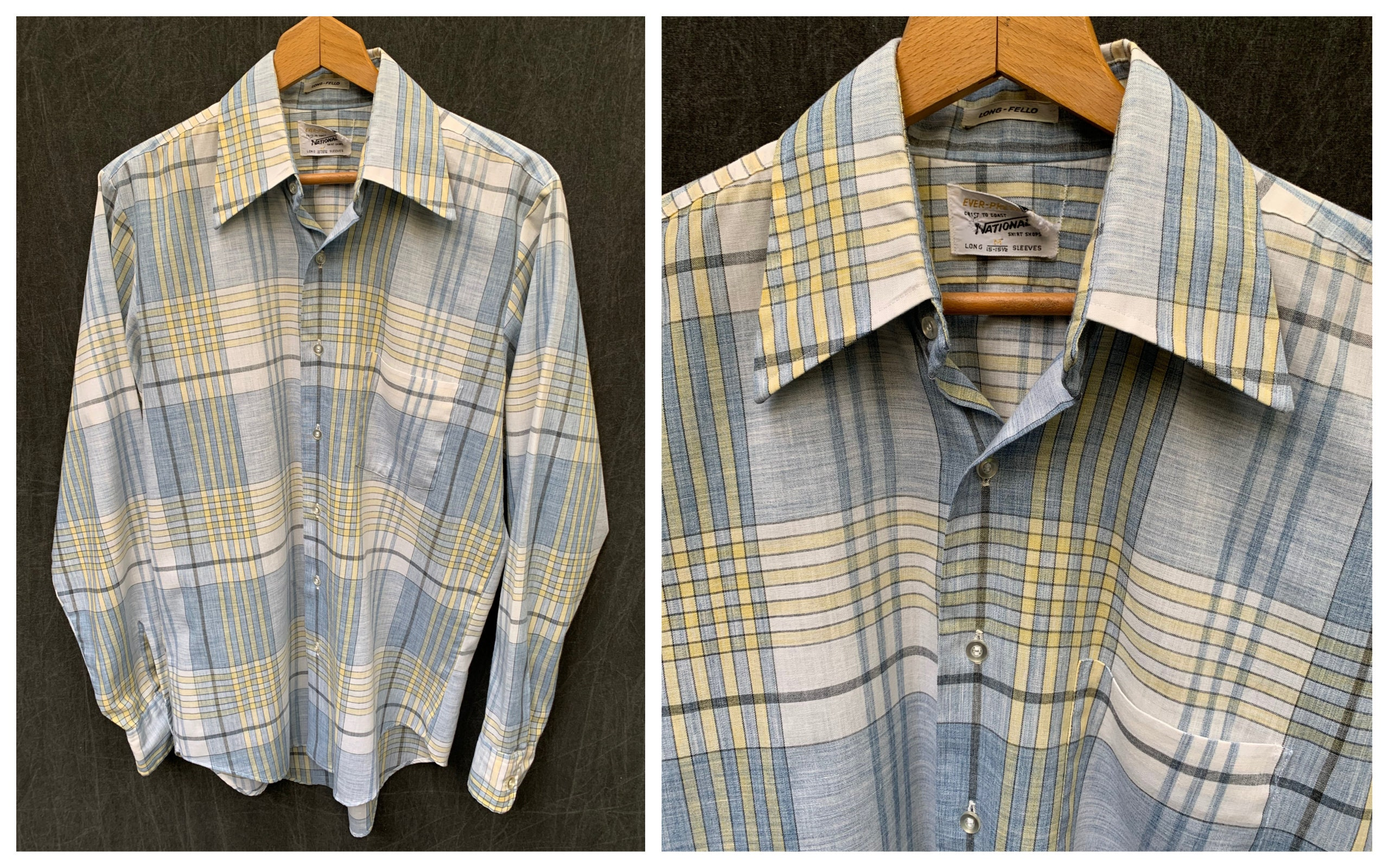 1960s – 70s Men's Ties | Skinny Ties, Slim Ties 60S Plaid Button Down Shirt Long Sleeve By Coast To National Shops  Mens Size Medium, 36 Neck 15-15 12 $0.00 AT vintagedancer.com