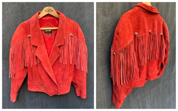 80s Red Suede Fringe Leather Crop Jacket by Learsi