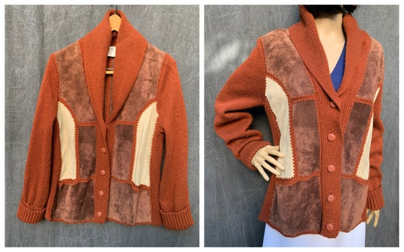 70's Montgomery Ward Patchwork Suede Leather Shawl