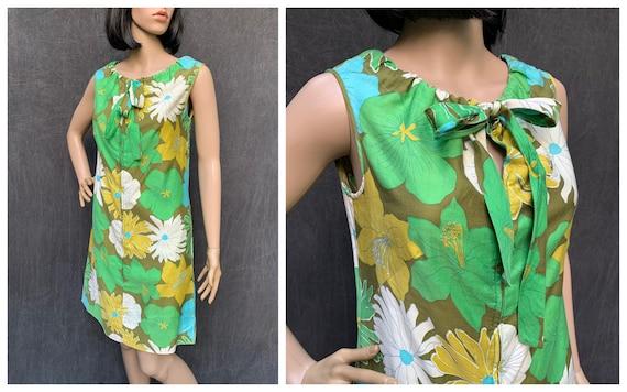60s Dress Mod Shift Sleeveless Flowers Greens, Tu… - image 1