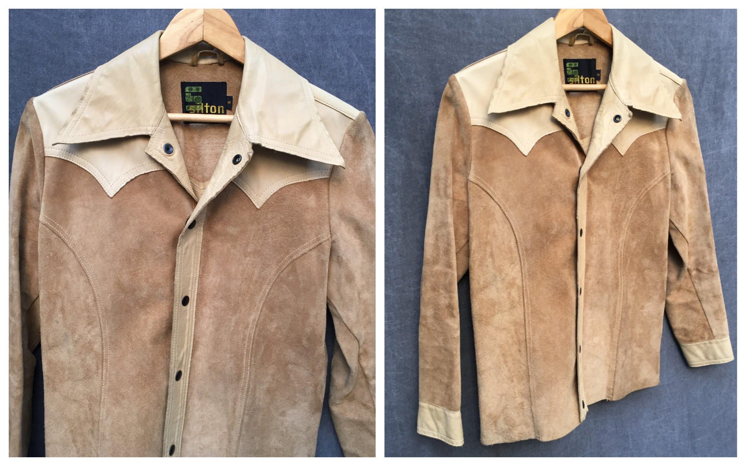 70's Silton Leather Jacket Camel Boho Gypsy Hobo Hippie - Men's 46 Size Large to XL Wn29IR