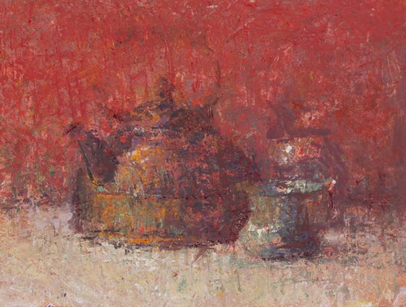 "Still Life , Original Oil Painting ,  9x12 , ""Red Tea"" , by artist John Kelley"