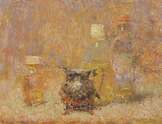 "Still Life , Original Oil Painting ,  9x12 , ""Light Fog"" , by artist John Kelley"