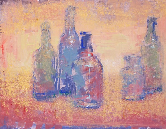 "Original Still Life Oil Painting,   11""x14"", ""My Shelf Part 2"" ,  by artist John Kelley"