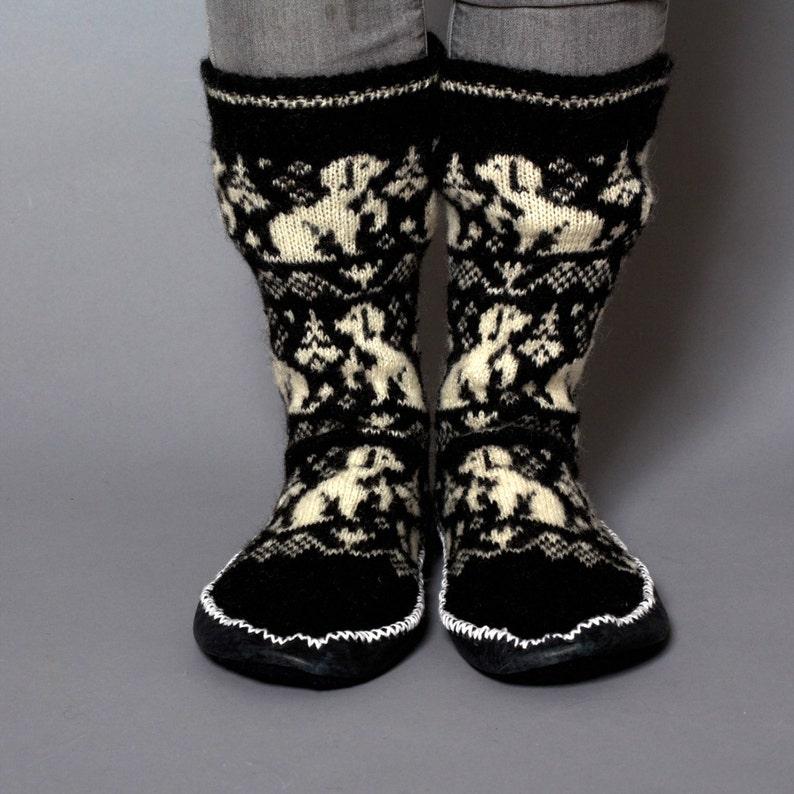 1423e2de3f37ec Slippers women unisex black white wool dogs leather handmade | Etsy