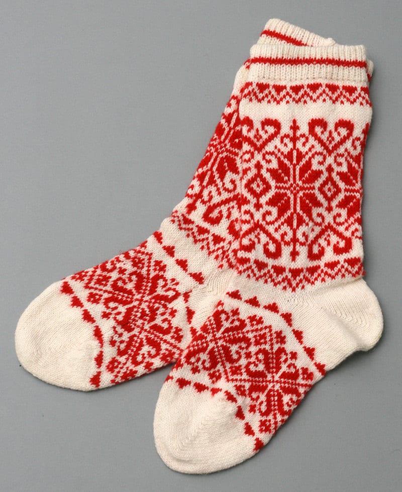 rote Socken Frauen Wolle Folklore Eco freundliche weiße Socke | Etsy
