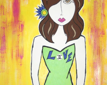What's Love Got To Do With It In Chanel - ORIGINAL Painting by Listed California Artist Lorna Wallace