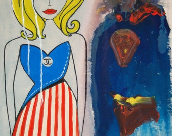 MY KRYPTONITE - Original Painting by Listed California Artist Lorna Wallace and Larry Caveney - Gal in Chanel & Superman