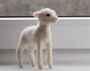 Needel Felted Lamb, Handmade Animal, Realistic Little White Lamb, Felt Sheep - made to order